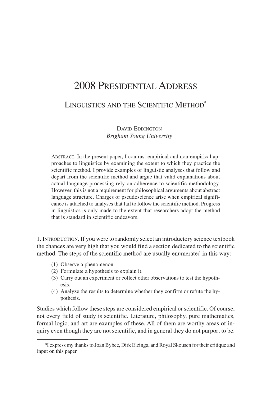 PDF Linguistics And The Scientific Method