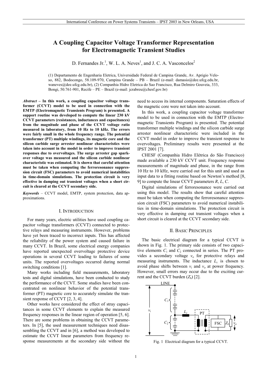 medium resolution of basic electrical diagram for a typical ccvt download scientific diagram