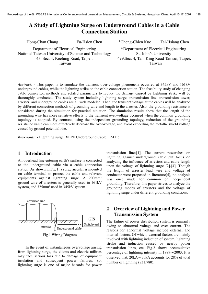 hight resolution of  pdf a study of lightning surge on underground cables in a cable connection station