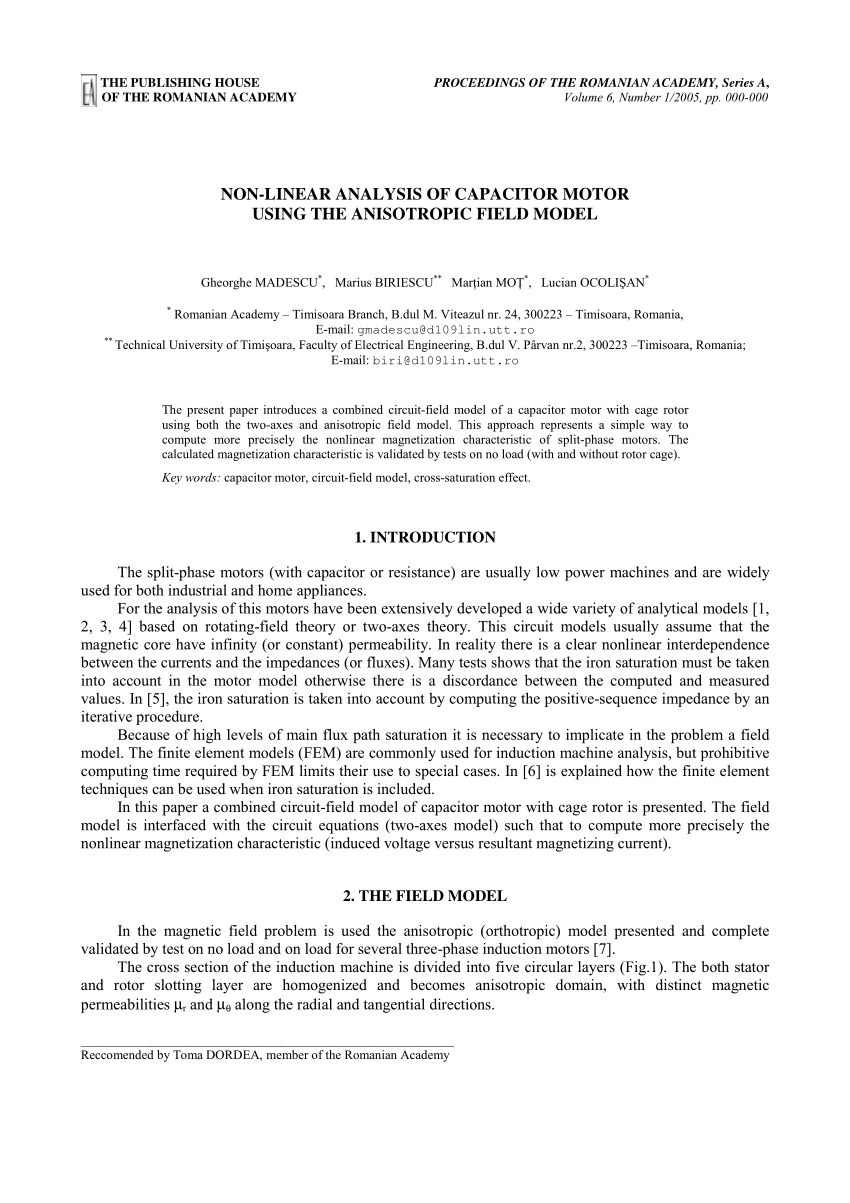 hight resolution of  pdf non linear analysis of capacitor motor using the anisotropic field model
