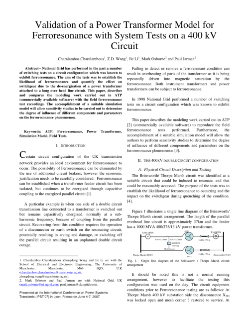 small resolution of  pdf sensitivity studies on power transformer ferroresonance of a 400 kv double circuit