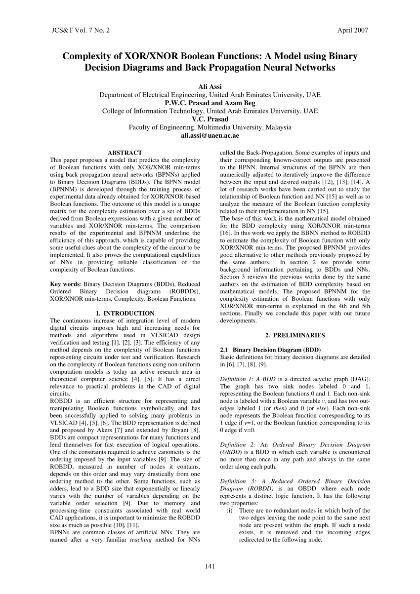 medium resolution of  pdf complexity of xor xnor boolean functions a model using binary decision diagrams and back propagation neural networks