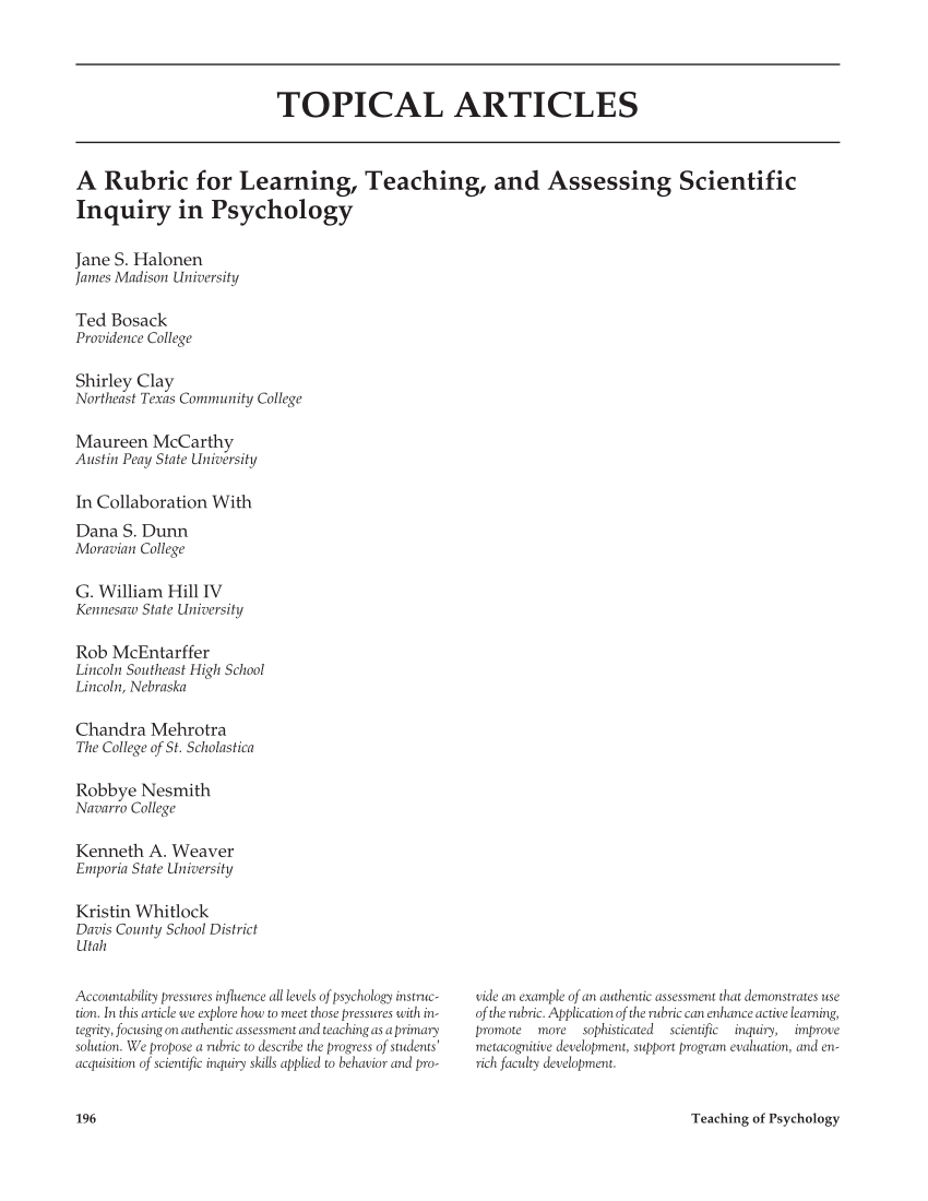 PDF A Rubric For Learning Teaching And Assessing