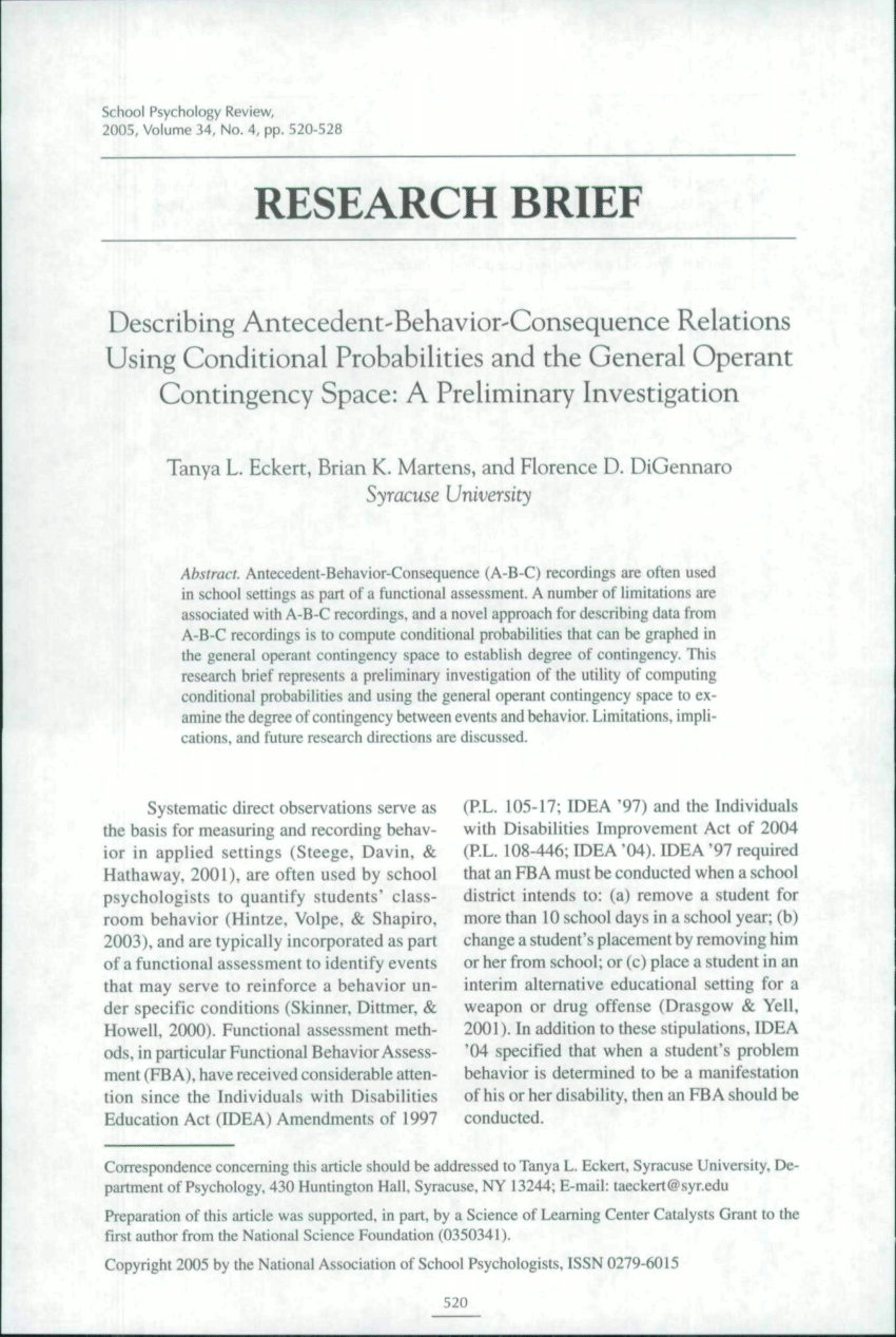 PDF Describing Antecedent Behavior Consequence Relations Using