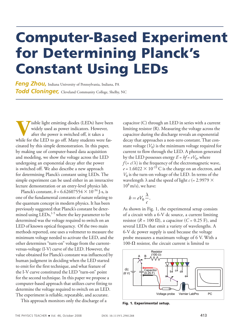 PDF ComputerBased Experiment for Determining Plancks