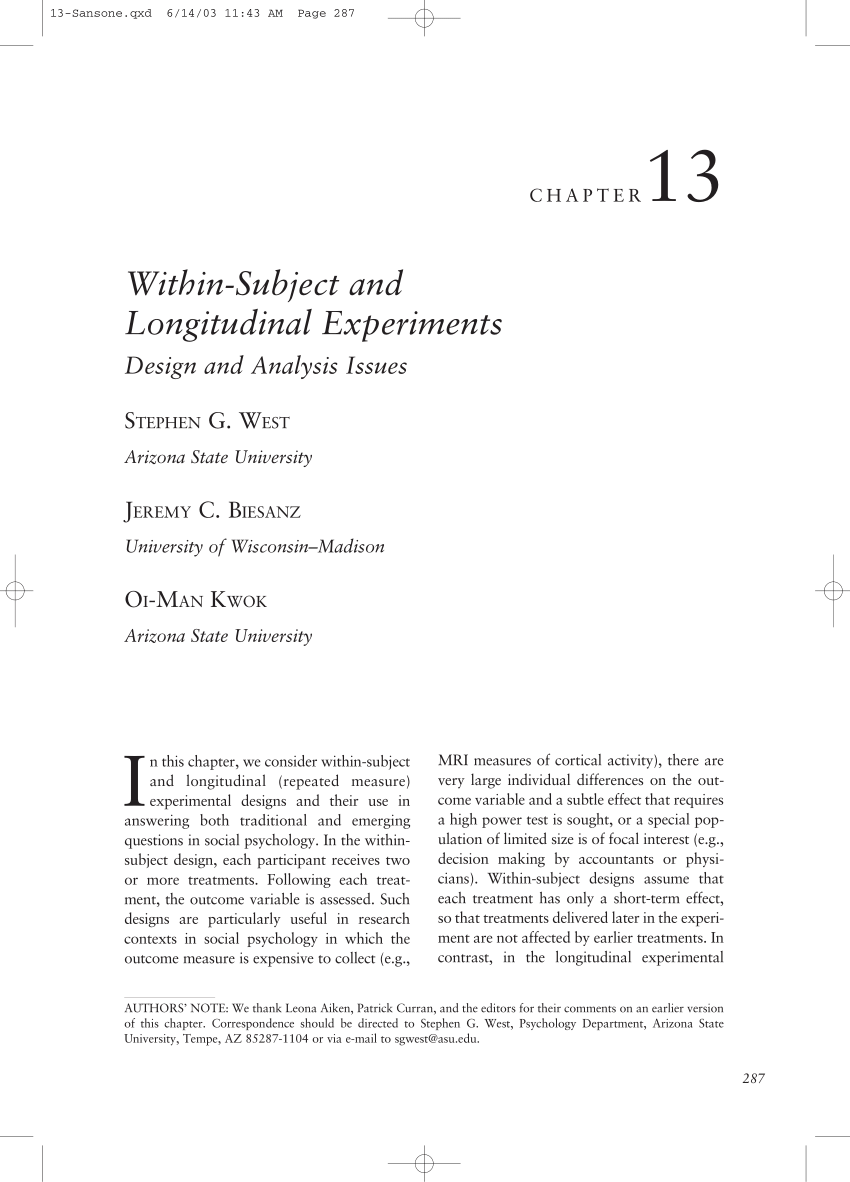PDF Within Subject And Longitudinal Experiments Design And