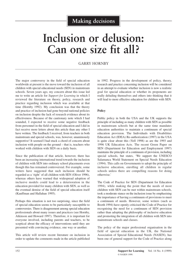 Pdf Inclusion Delusion Size Fit