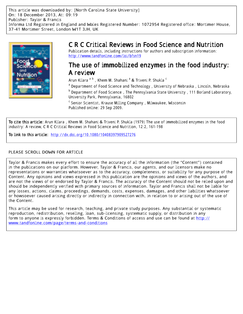hight resolution of  pdf the use of immobilized enzymes in the food industry a review