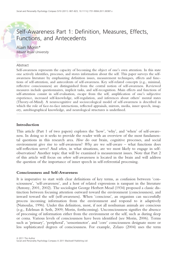 PDF SelfAwareness Part 1 Definition Measures Effects