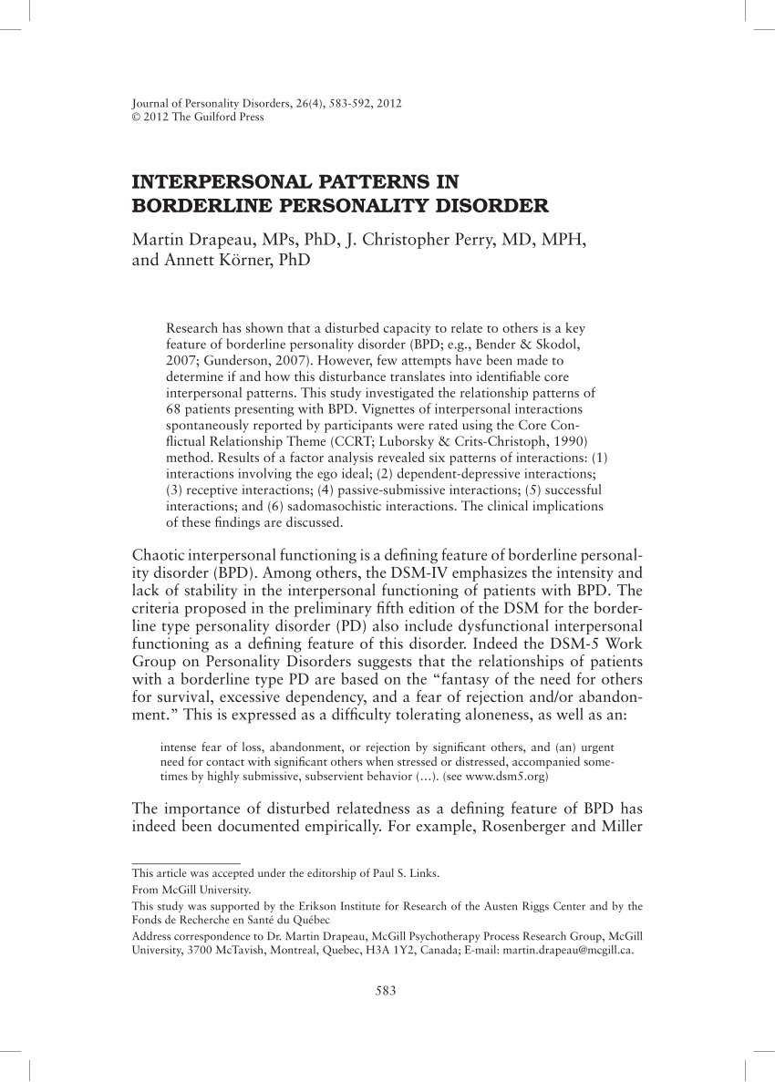 Interpersonal Patterns In Borderline PDF Download Available