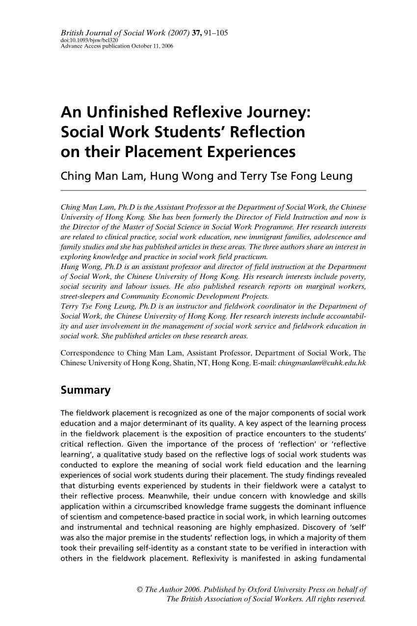 Social Work Research Paper Example