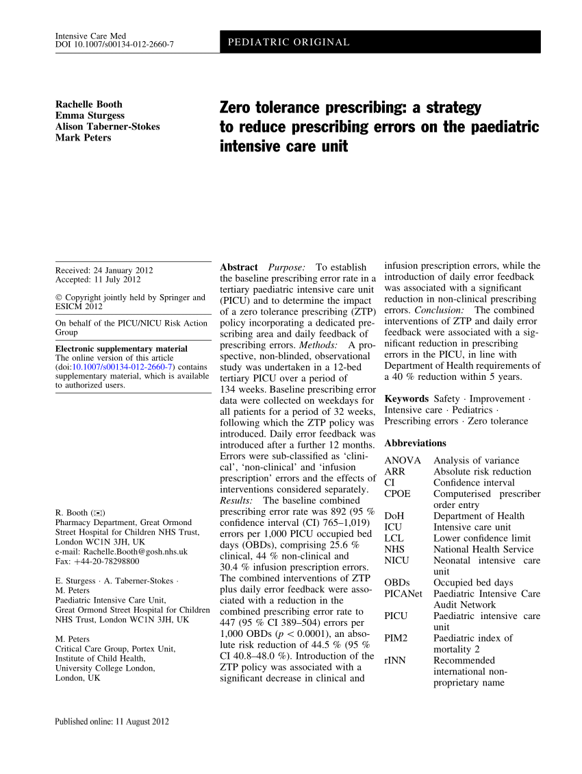 (PDF) Zero tolerance prescribing: A strategy to reduce