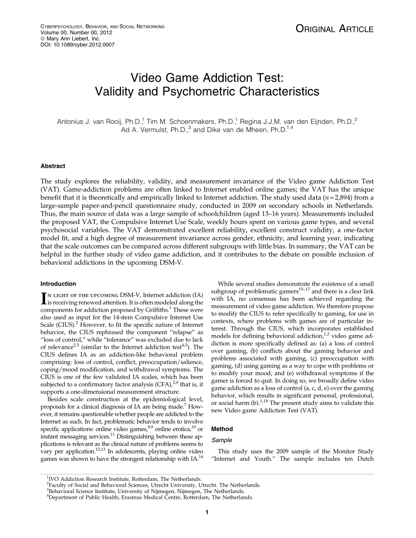 PDF Video Game Addiction Test Validity And Psychometric