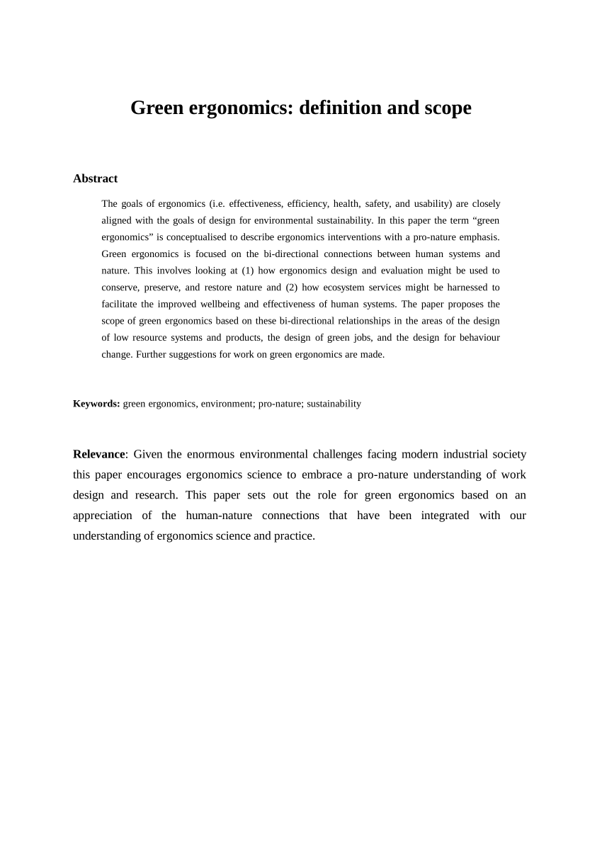 PDF Green Ergonomics Definition And Scope