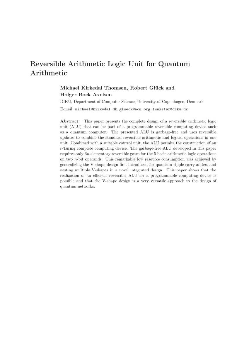hight resolution of  pdf design and synthesis of reversible arithmetic and logic unit alu