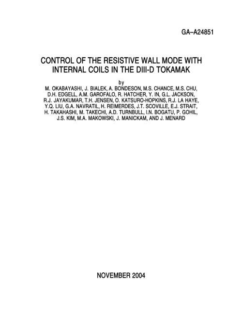 small resolution of  pdf control of the resistive wall mode with internal coils in the diii d tokamak