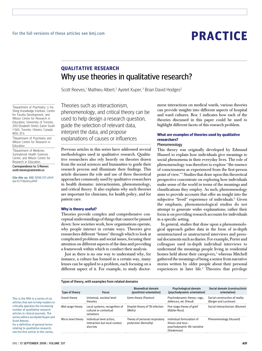 PDF Qualitative Research Why Use Theories In Qualitative Research?