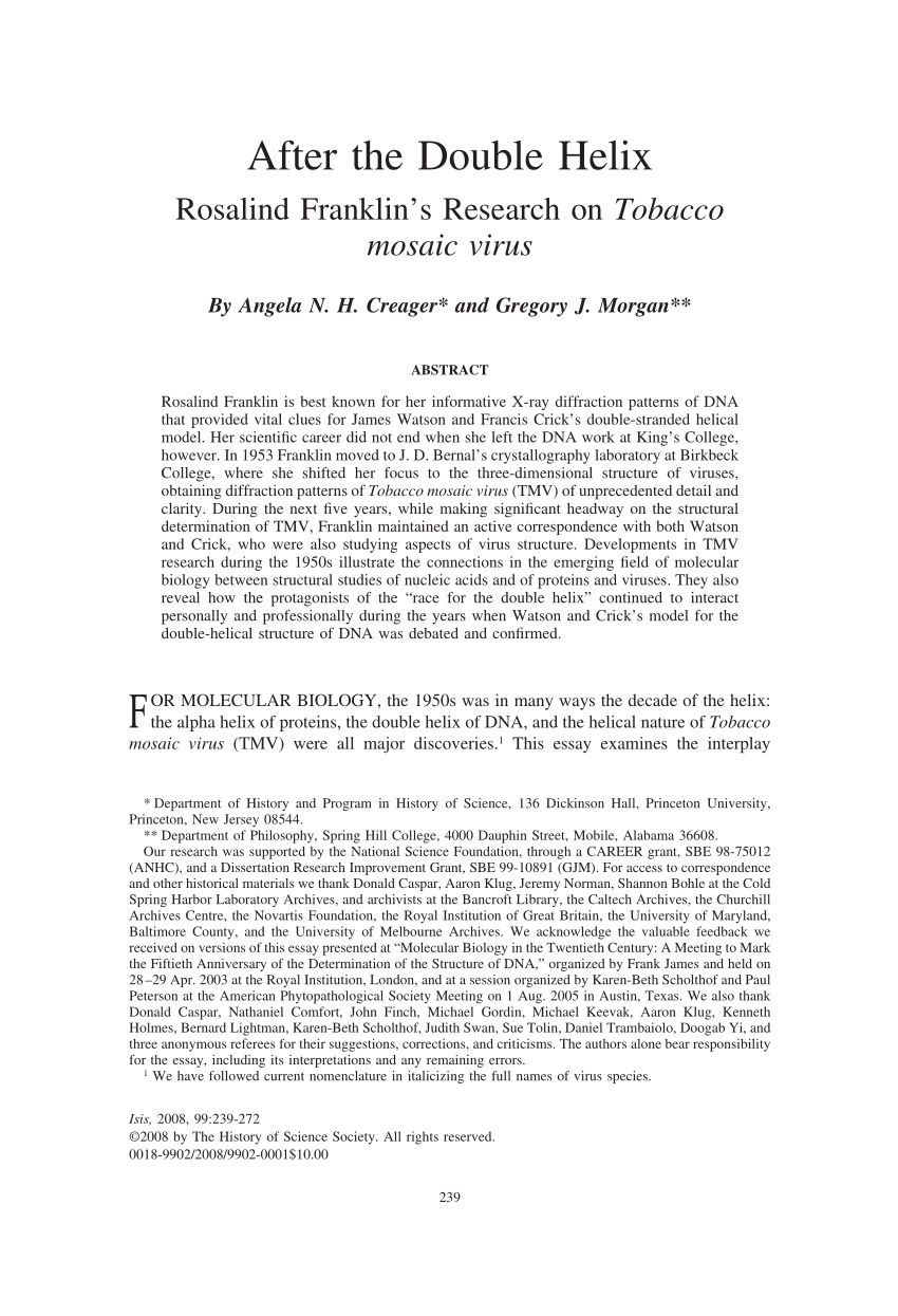 Tobacco Essay After The Double Helix Rosalind Franklin S Research On