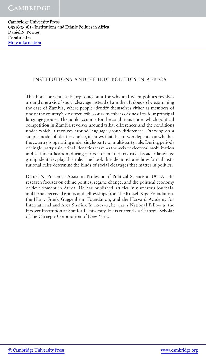 PDF Institutions And Ethnic Politics In Africa