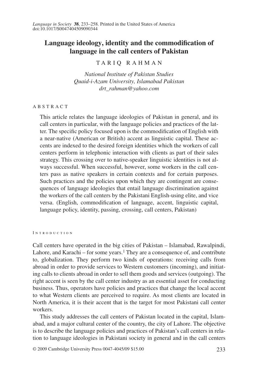 PDF Language Ideology Identity And The Commodification Of Language