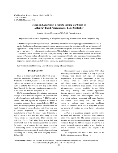 small resolution of  pdf design and analysis of a remote sensing car speed on a runway based programmable logic controller
