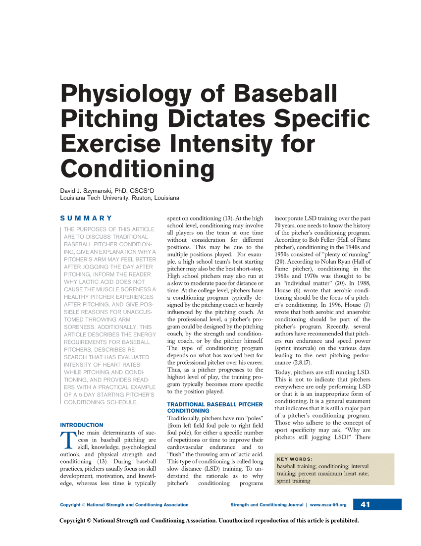 (PDF) Physiology of Baseball Pitching Dictates Specific