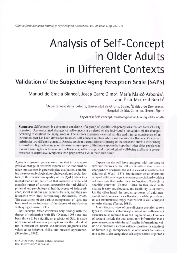 PDF Analysis of SelfConcept in Older Adults in