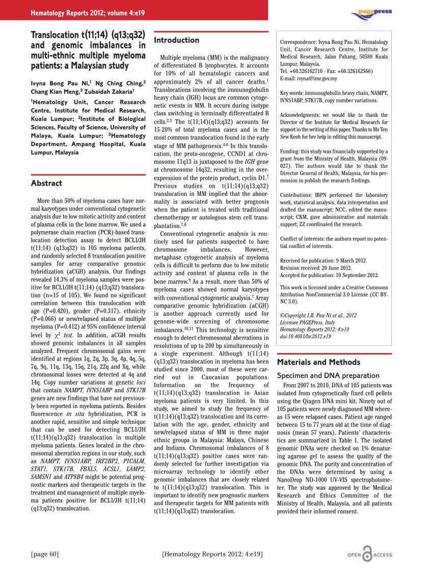 (PDF) Translocation t(11;14) (q13;q32) and genomic