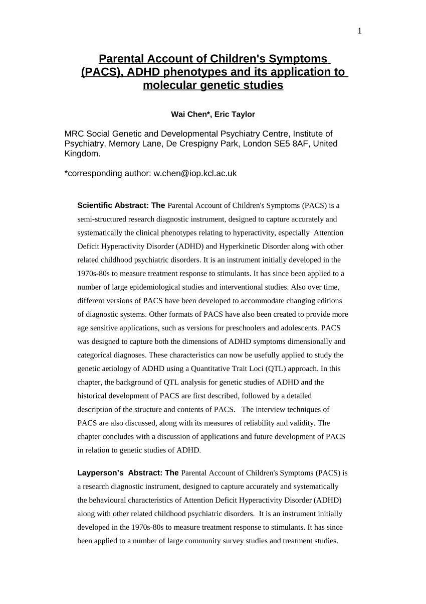 PDF Parental Account Of Children's Symptoms PACS ADHD Phenotypes