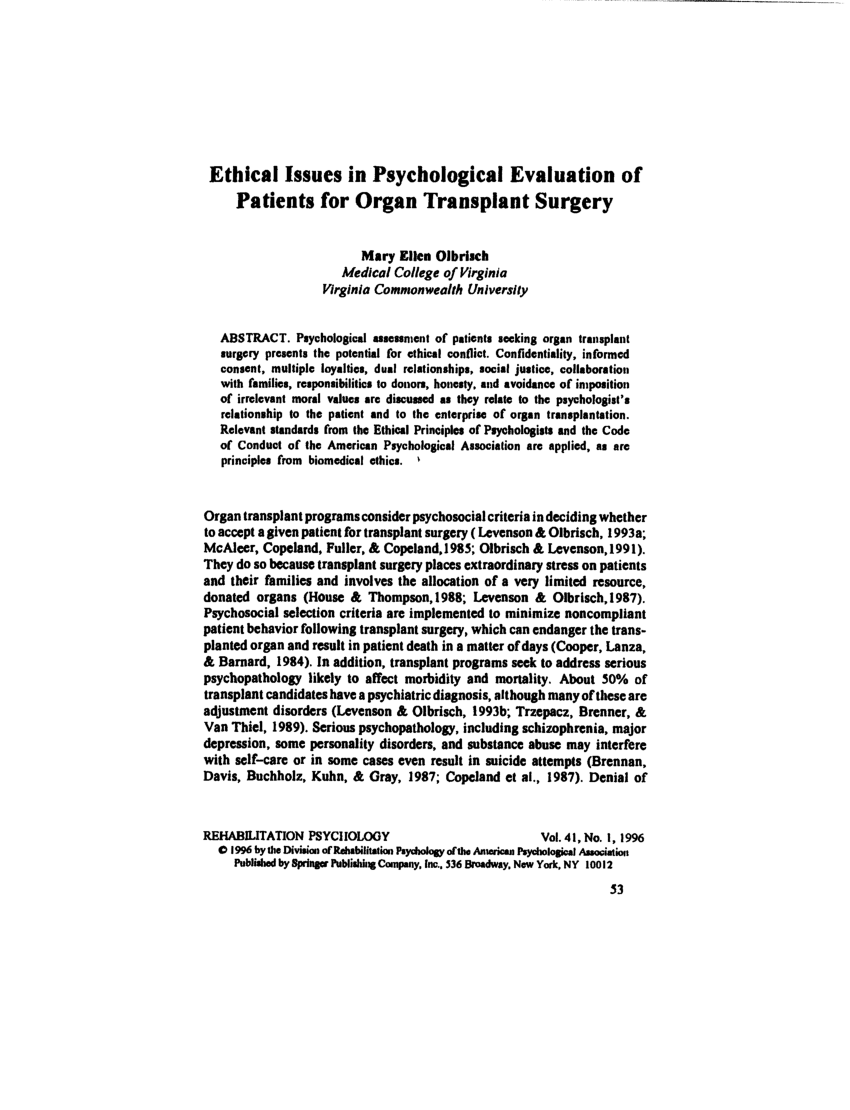 PDF) Ethical issues in psychological...