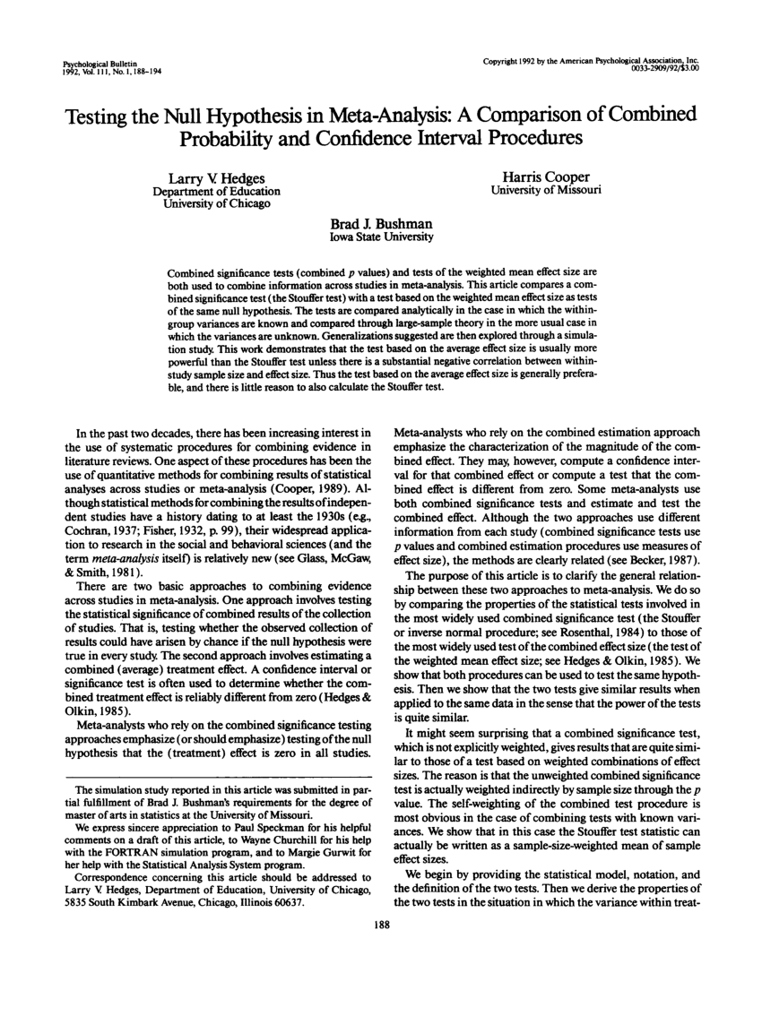 PDF Testing The Null Hypothesis In Meta Analysis A Comparison Of