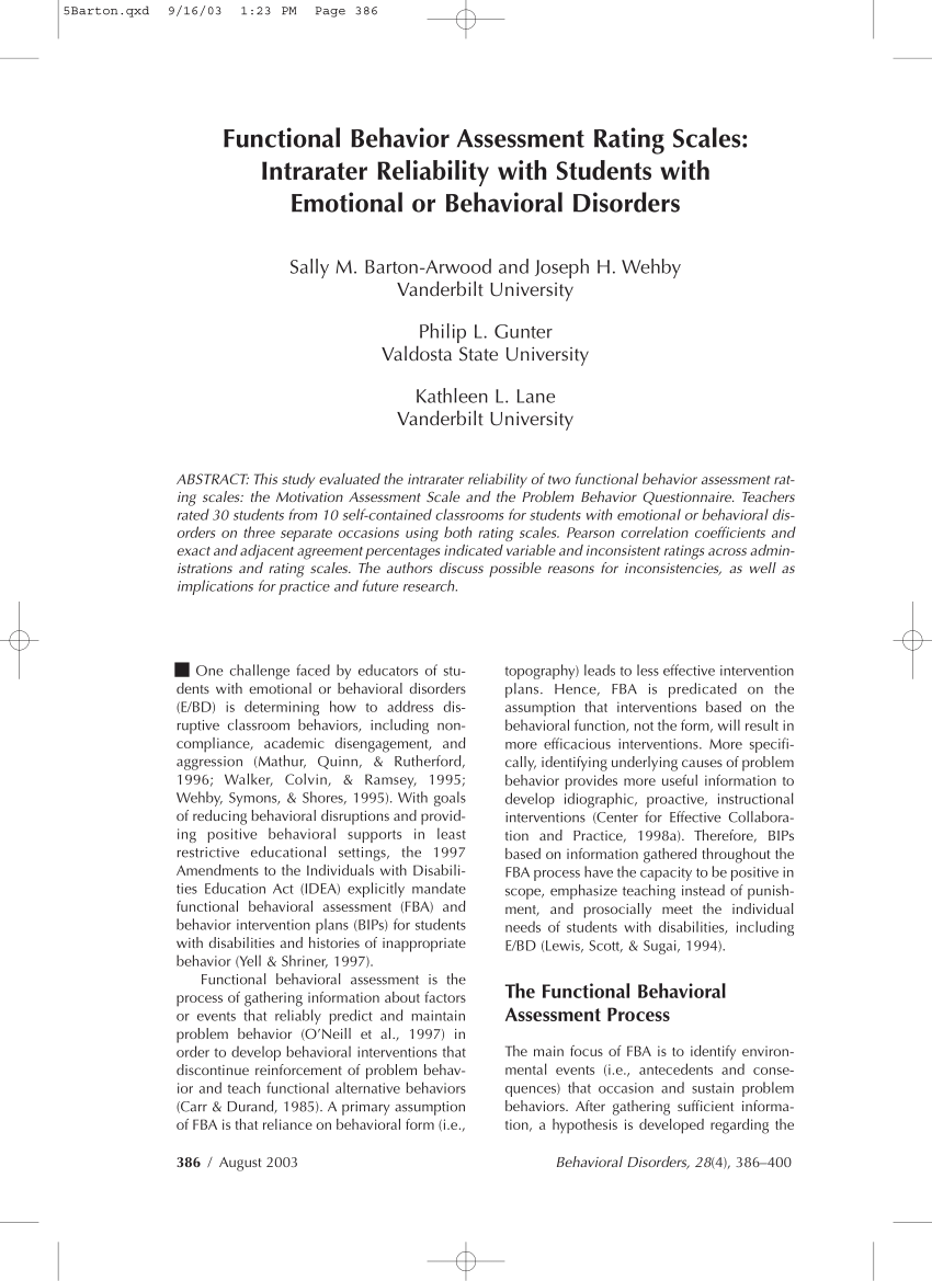 (Pdf) Functional Behavior Assessment Rating Scales: Intrarater Reliability  With Students With Emotional Or Behavioral Disorders.