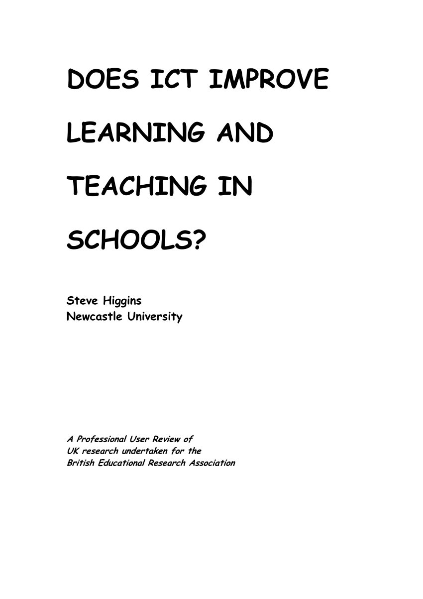 (PDF) Does ICT Improve Learning and Teaching in Schools?