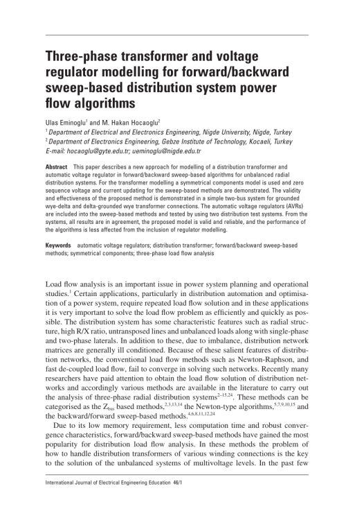 small resolution of  pdf three phase transformer and voltage regulator modelling for forward backward sweep based distribution system power flow algorithms
