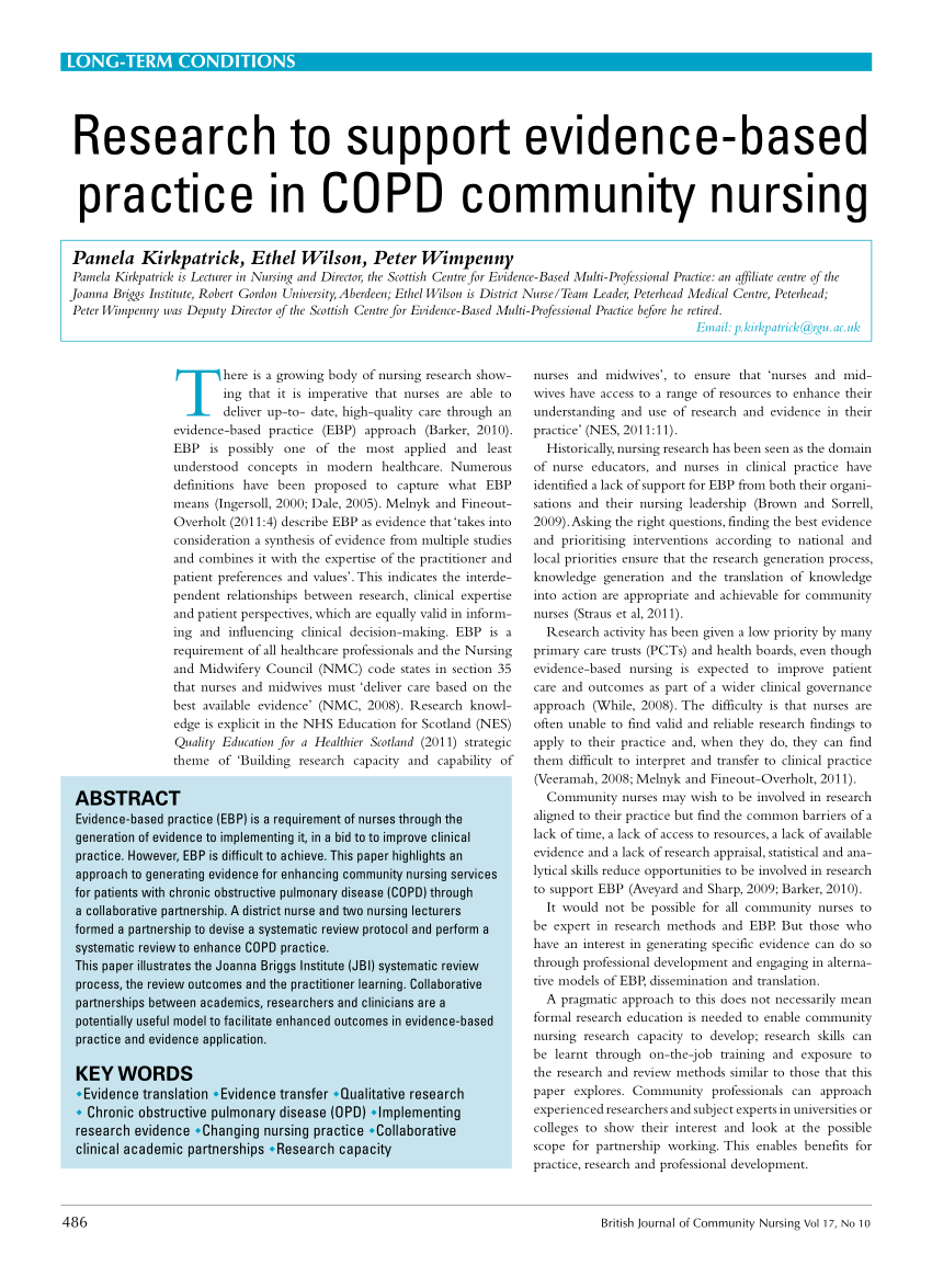 PDF Research To Support Evidence Based Practice In COPD