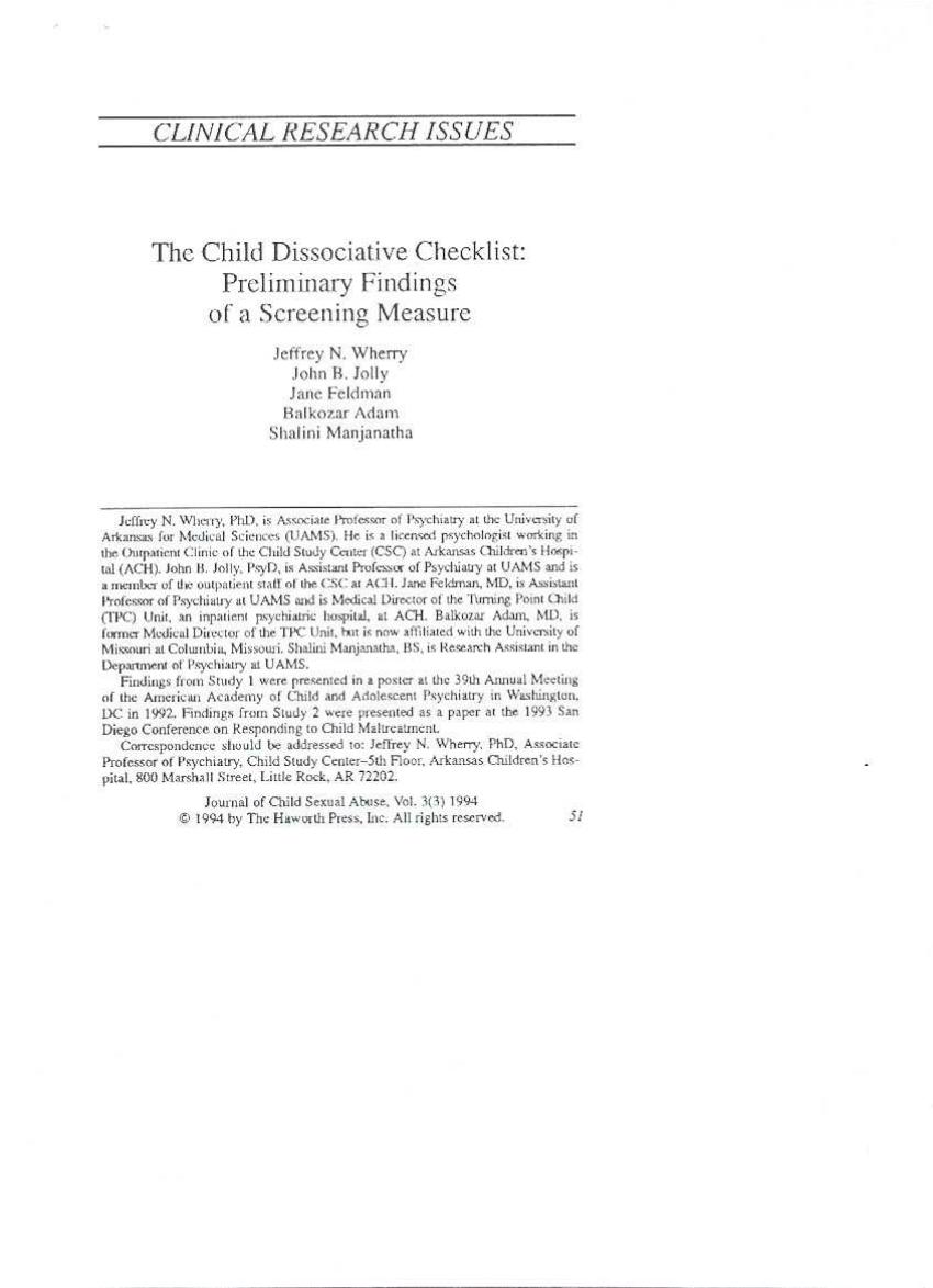 (PDF) The Child Dissociative Checklist
