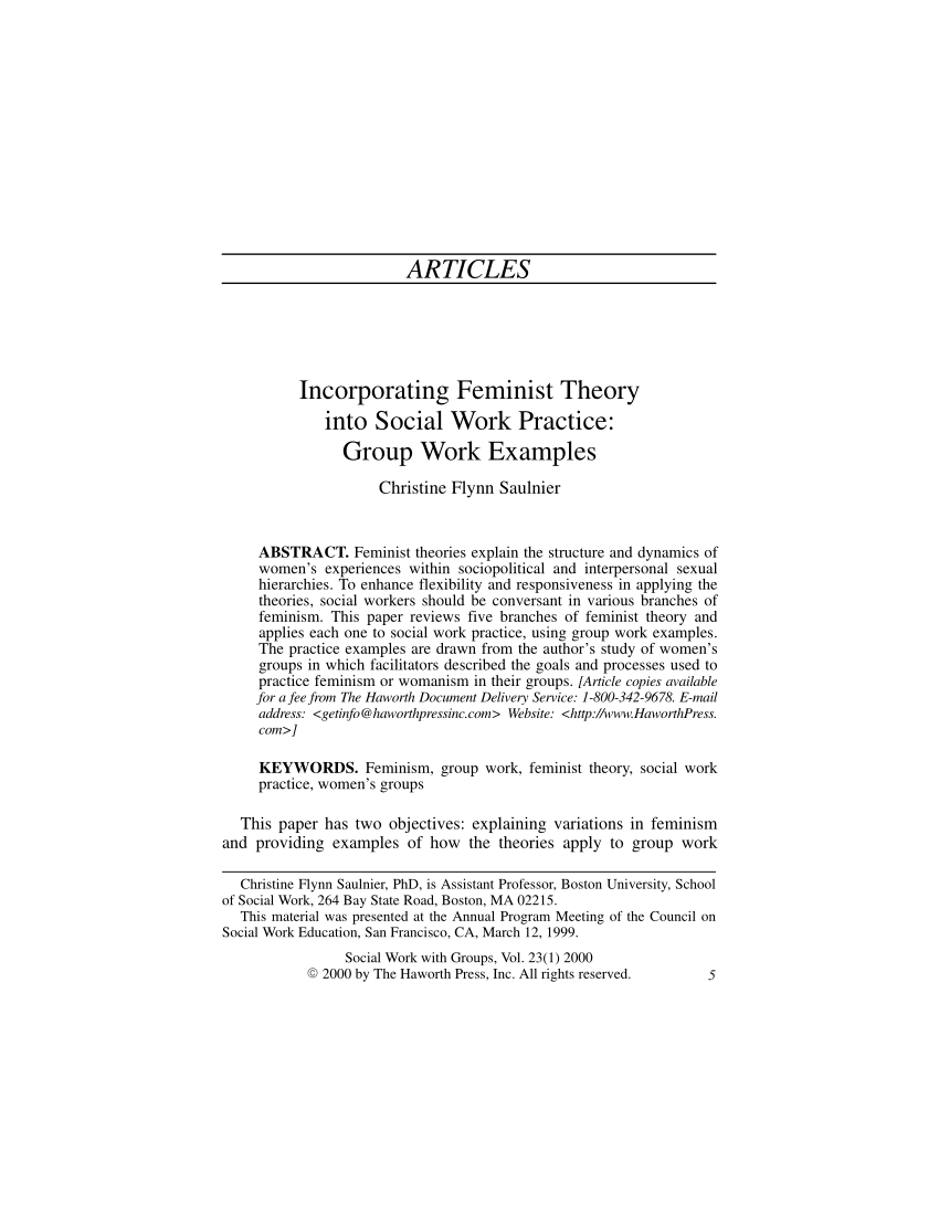 PDF Incorporating Feminist Theory Into Social Work Practice Group