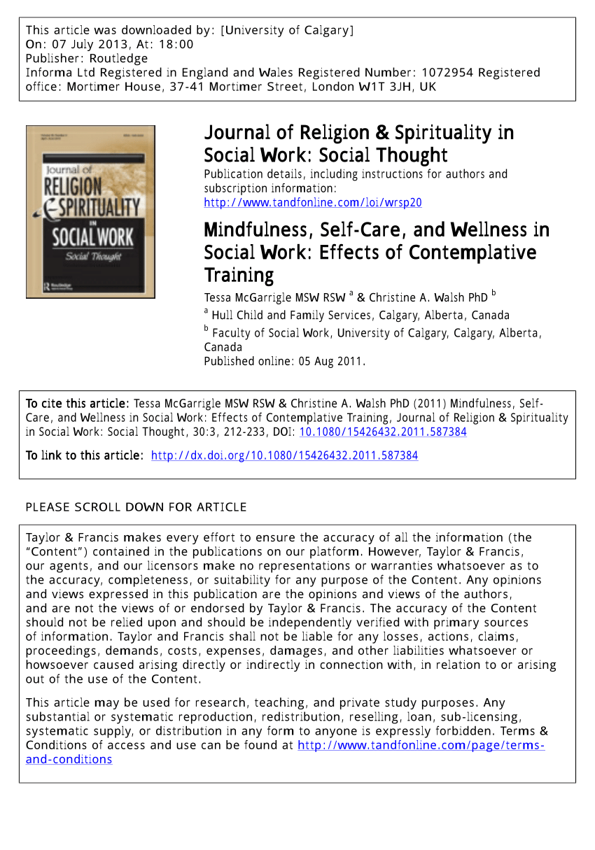 PDF Mindfulness Self Care And Wellness In Social Work Effects Of