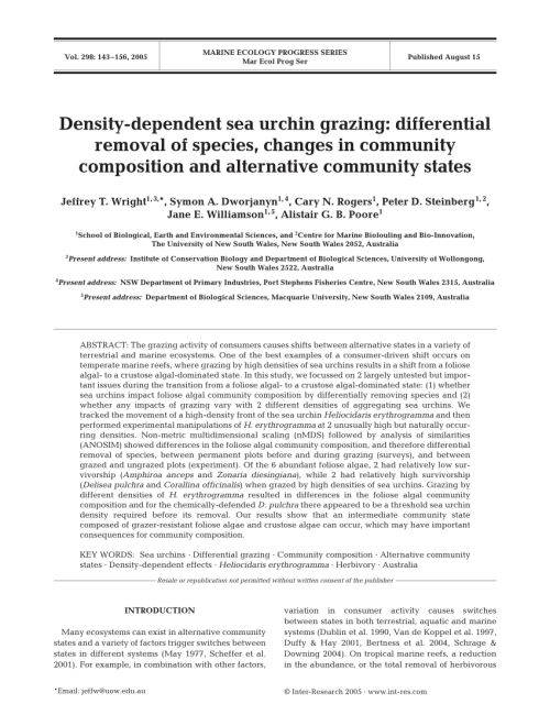 small resolution of  pdf density dependent sea urchin grazing differential removal of species changes in community composition and alternative community states