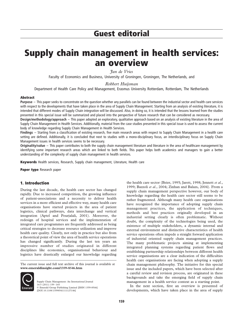 PDF Supply Chain Management In Health Services An Overview
