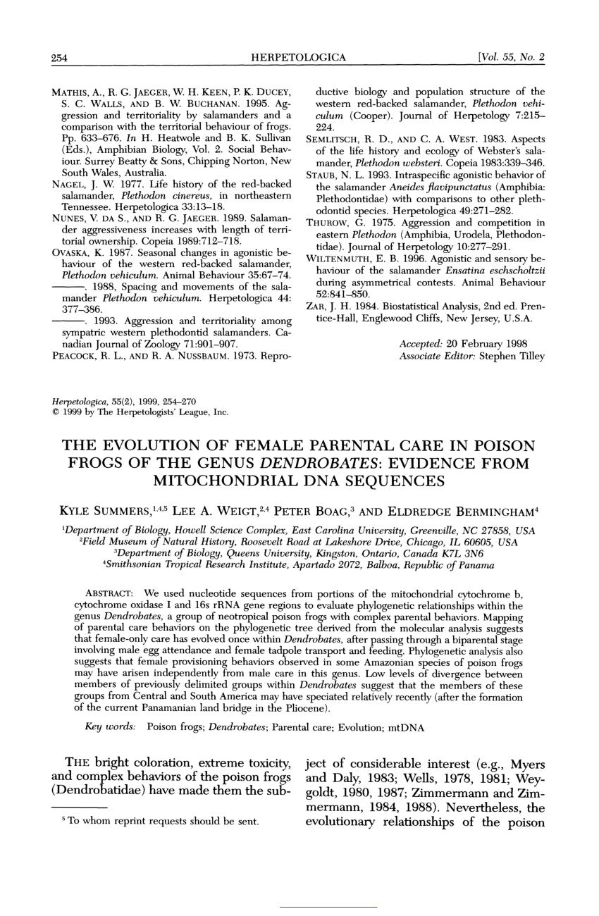 (PDF) The evolution of female parental care in poison