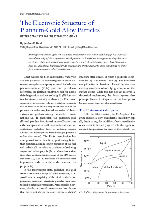 small resolution of  pdf the electronic structure of platinum gold alloy particles