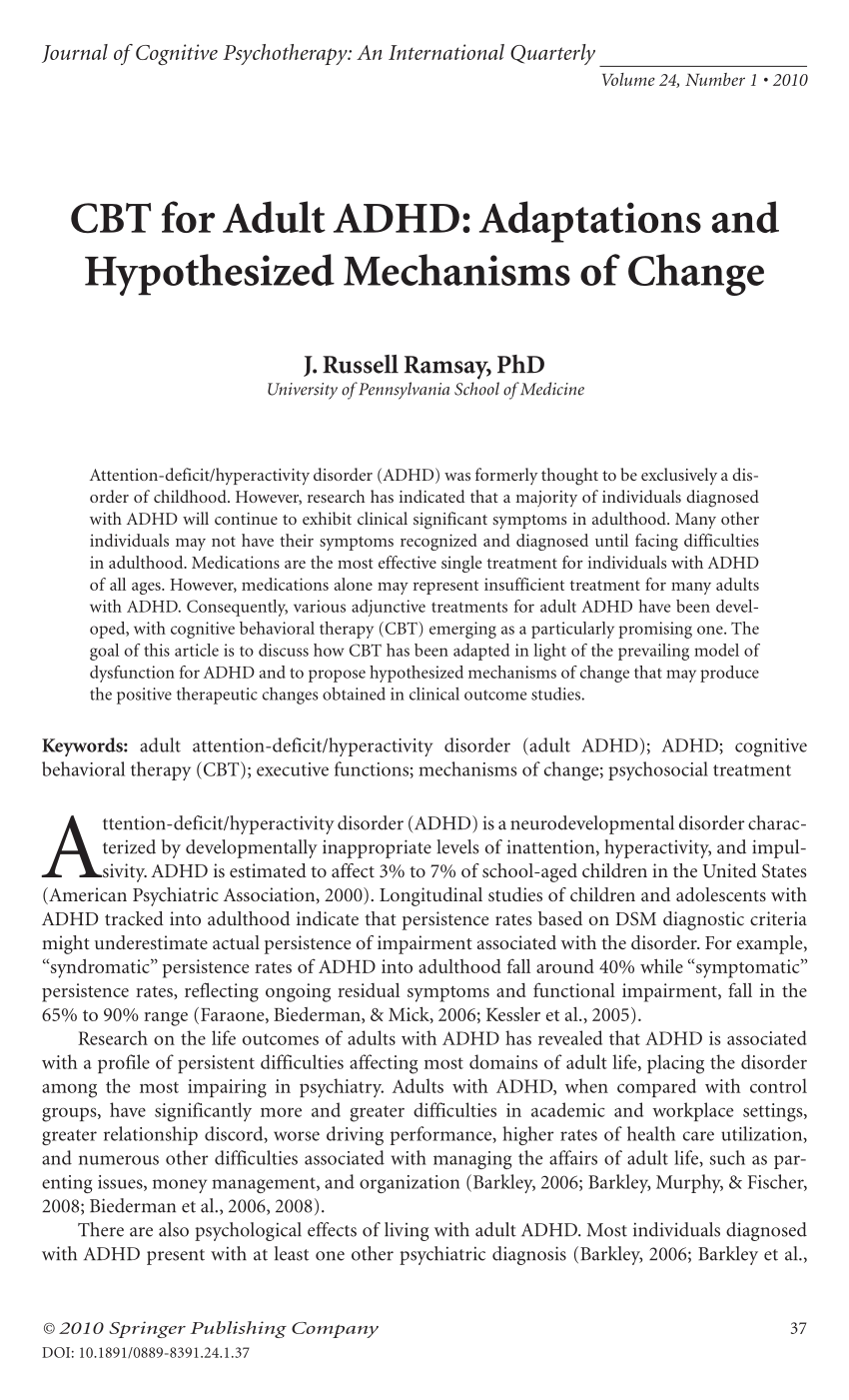 CBT For Adult ADHD Adaptations And PDF Download Available