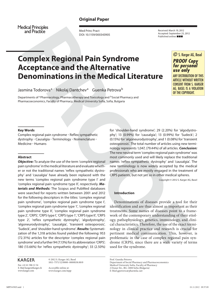 (PDF) Complex Regional Pain Syndrome Acceptance and the