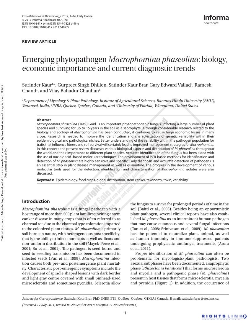 PDF Emerging Phytopathogen Macrophomina Phaseolina Biology