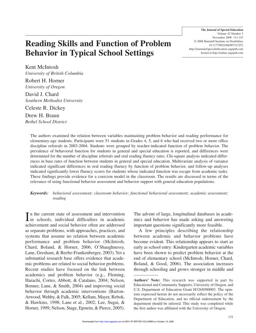 PDF) Functional Behavior Assessment Rating...