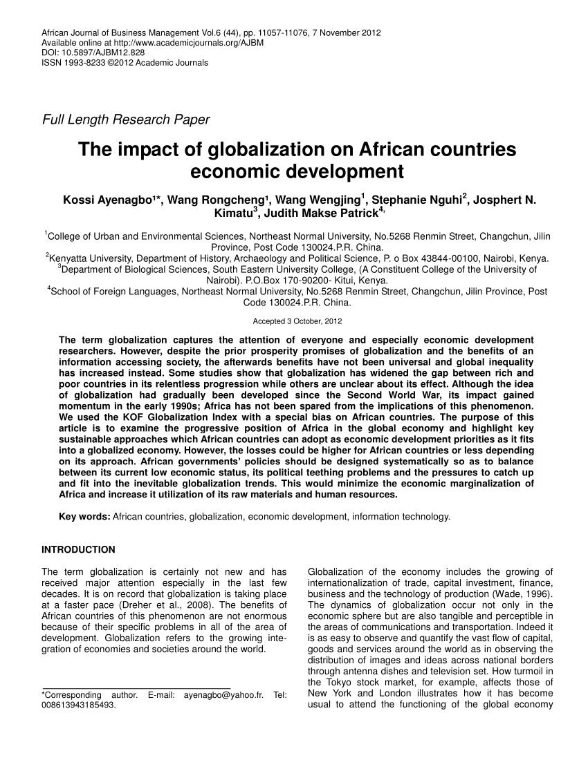 PDF The Impact Of Globalization On African Countries Economic