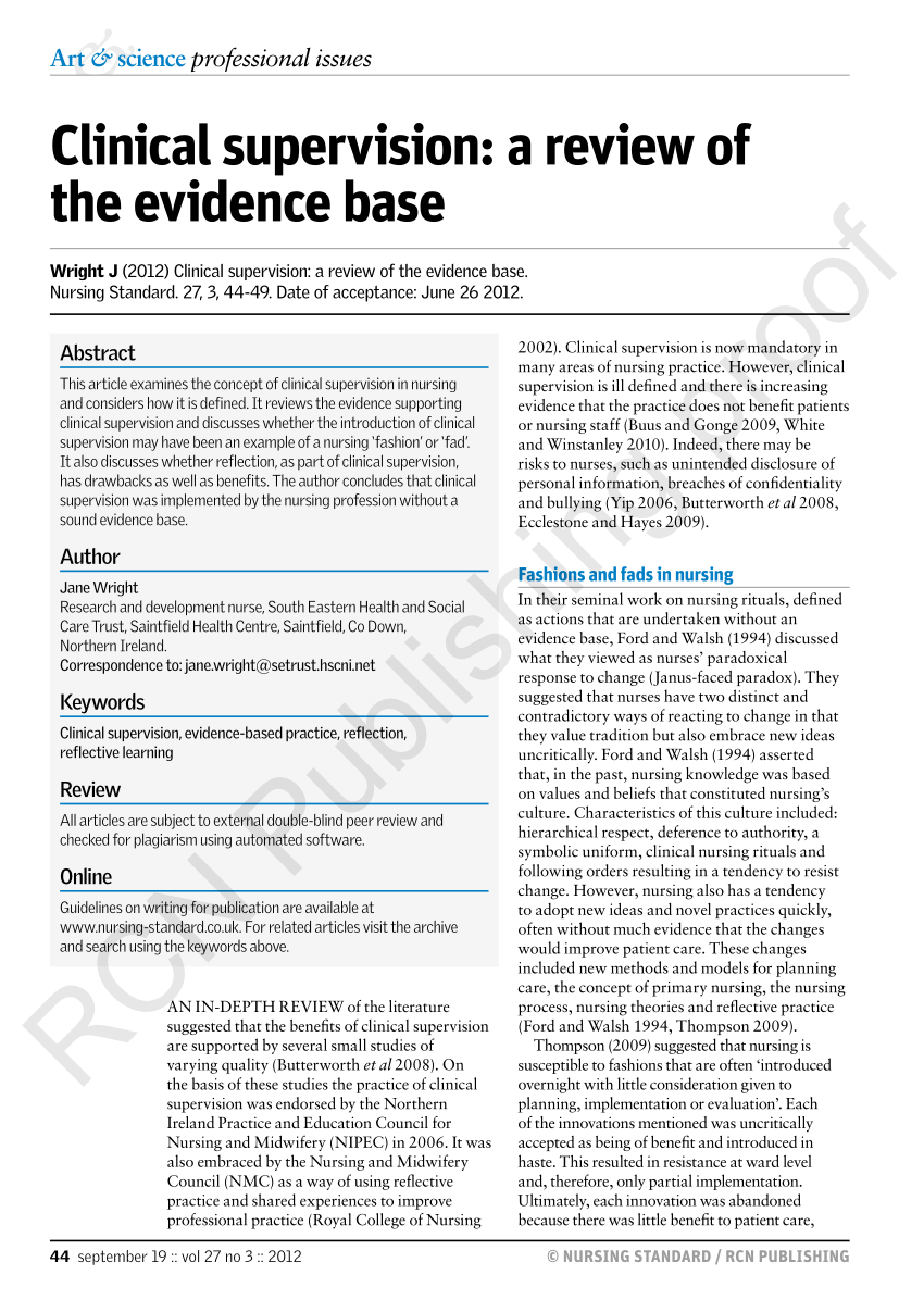 PDF Clinical Supervision A Review Of The Evidence Base