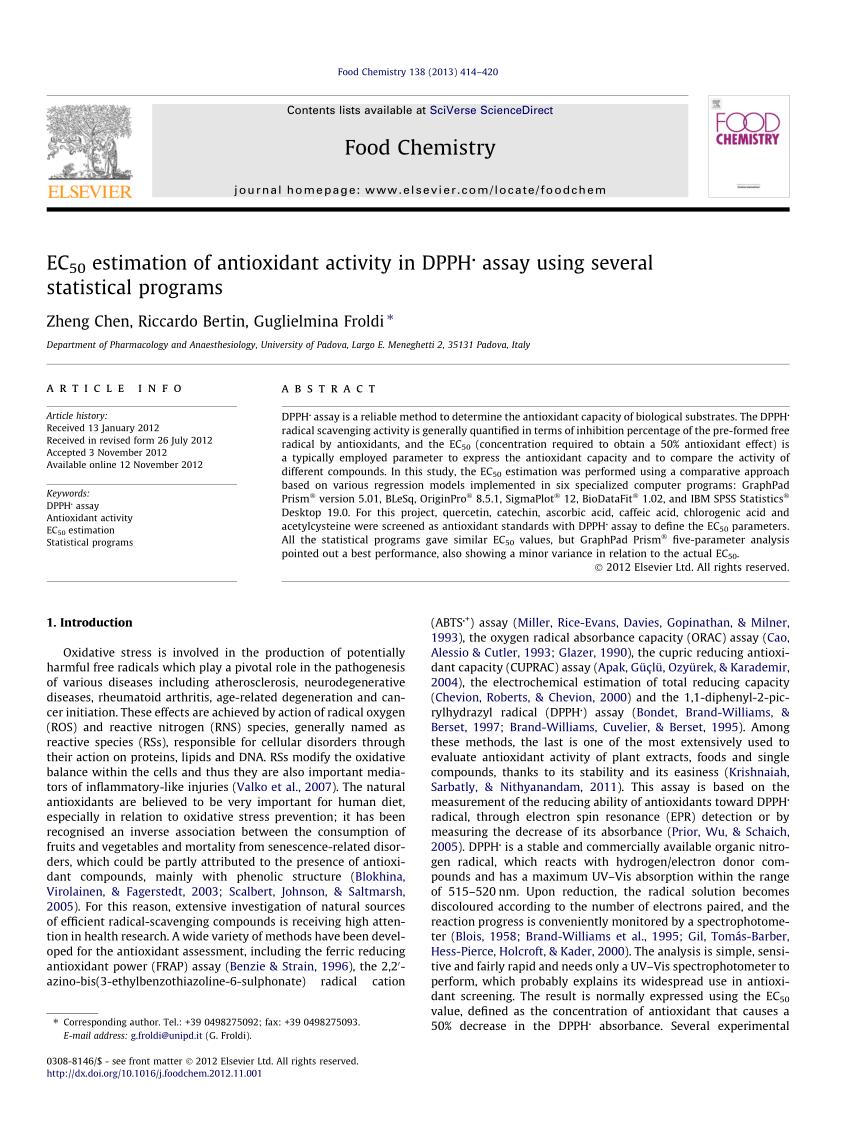 (PDF) EC50 estimation of antioxidant activity in DPPH assay using several statistical programs