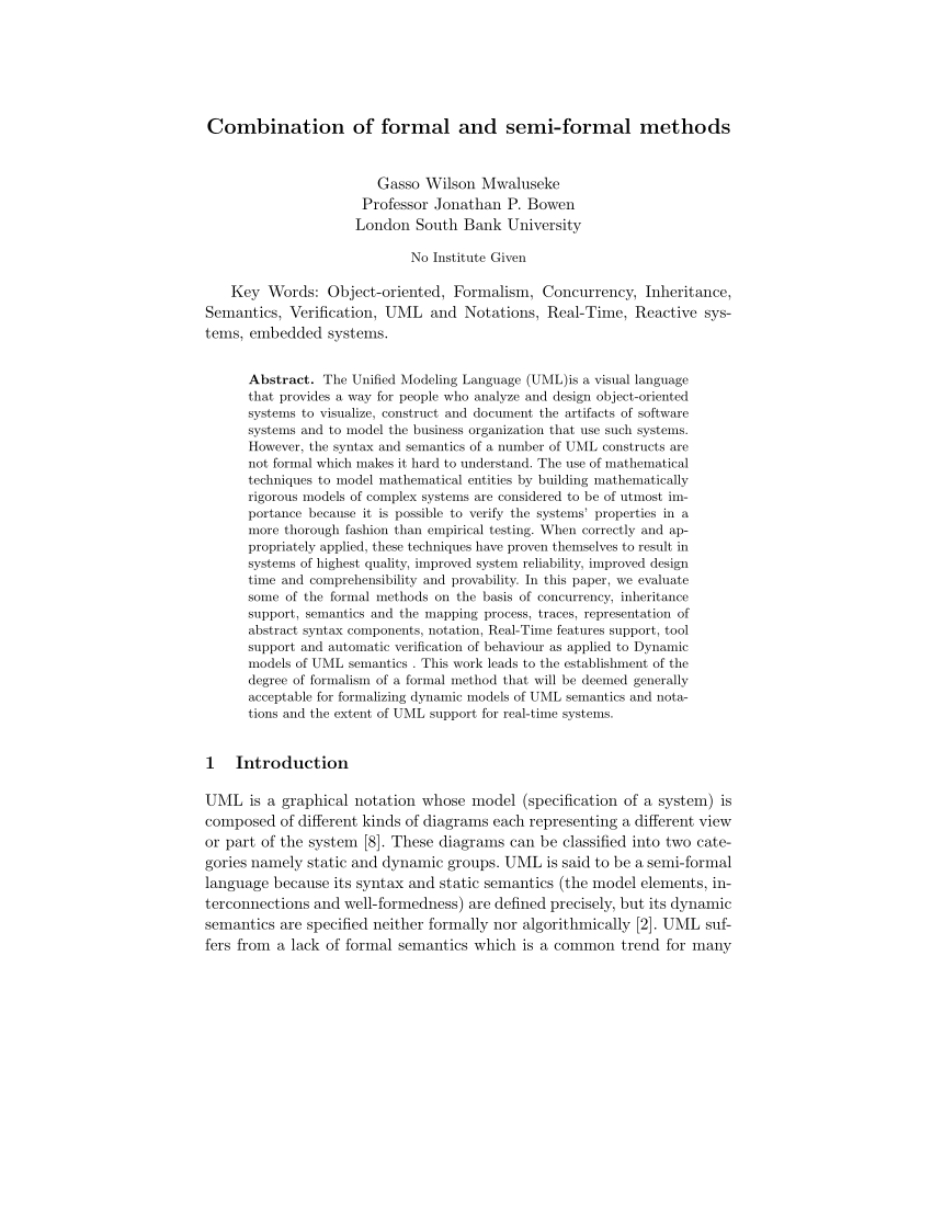 (PDF) Combination of formal and semi-formal methods